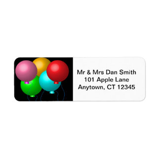 Five Birthday Balloons Label