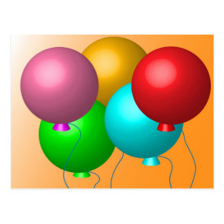 Five Birthday Balloons Postcard