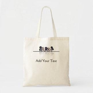 Five Black and Tan Cocker Spaniel Puppies Canvas Bag