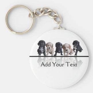 Five Black and Tan Cocker Spaniel Puppies Keychain