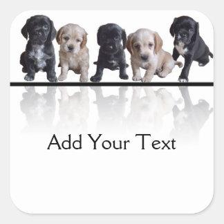 Five Black and Tan Cocker Spaniel Puppies Sticker