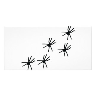 five black spiders icon customized photo card