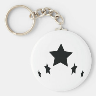 five black stars icon basic round button keychain