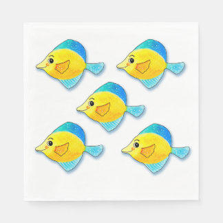 Five Blue and Yellow Fish Grouping Customizable Paper Napkin