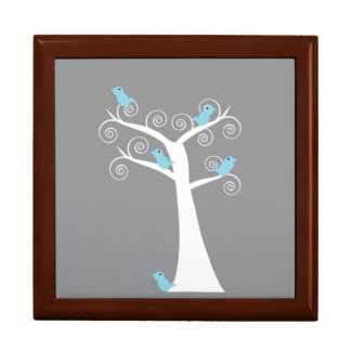 Five Blue Birds in a Tree giftbox Jewelry Boxes