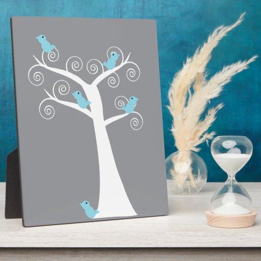 Five Blue Birds in a Tree Plaque