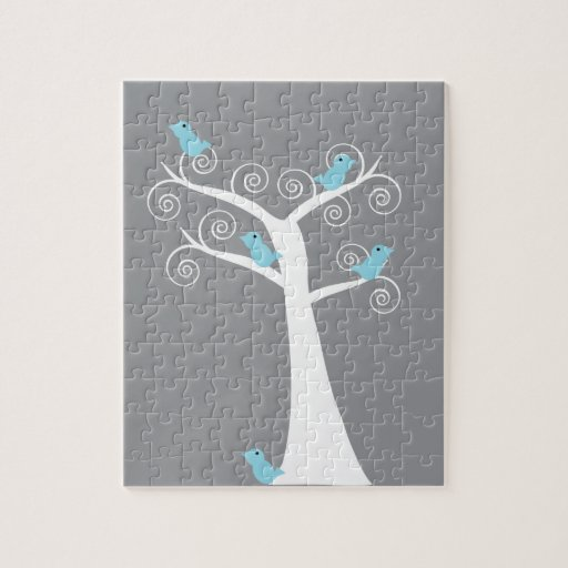 Five Blue Birds in a Tree Puzzle