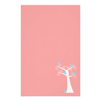 Five Blue Birds in a Tree Stationery