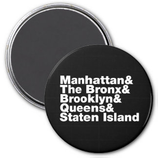 Five Boroughs ~ New York City 3 Inch Round Magnet