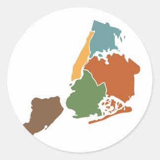 Five Boroughs New York Classic Round Sticker