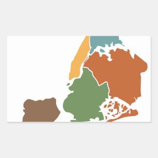 Five Boroughs New York Rectangular Sticker