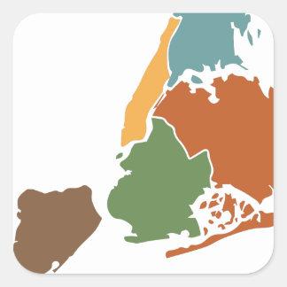 Five Boroughs New York Square Sticker