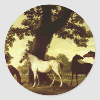 Five Brood Mares by George Stubbs Classic Round Sticker