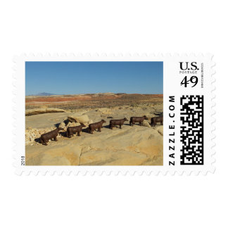 Five Brown Cows Walking in the Desert Postage