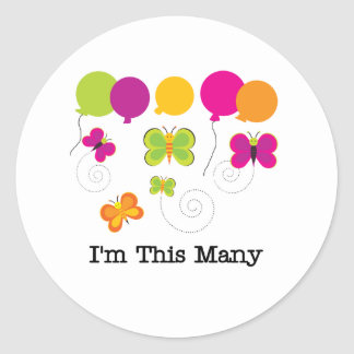 Five Butterflies I'm This Many Classic Round Sticker