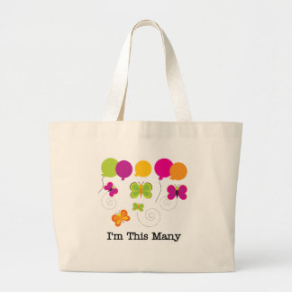 Five Butterflies I'm This Many Jumbo Tote Bag