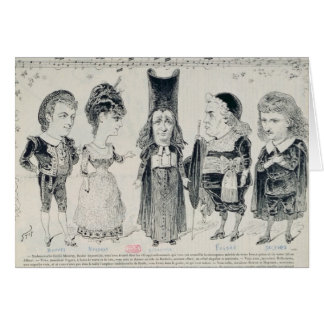 Five caricatures of the cast of a French Card