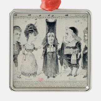 Five caricatures of the cast of a French Metal Ornament