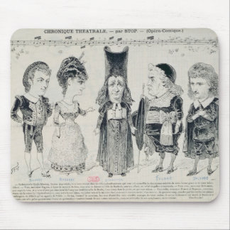 Five caricatures of the cast of a French Mousepad