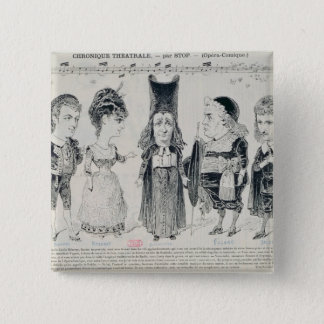 Five caricatures of the cast of a French Pinback Button