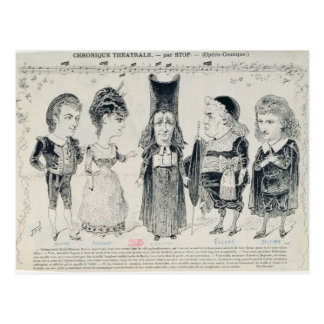 Five caricatures of the cast of a French Post Cards