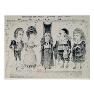 Five caricatures of the cast of a French Poster
