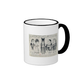Five caricatures of the cast of a French Ringer Mug