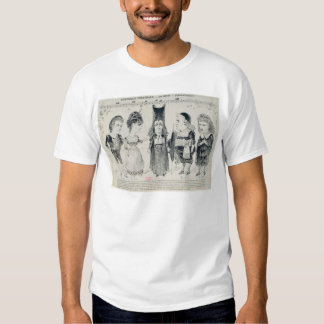 Five caricatures of the cast of a French Shirt