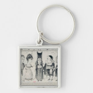 Five caricatures of the cast of a French Silver-Colored Square Keychain