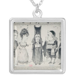 Five caricatures of the cast of a French Square Pendant Necklace