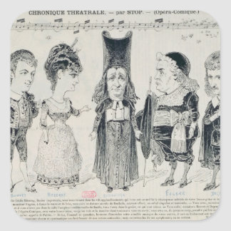 Five caricatures of the cast of a French Square Sticker