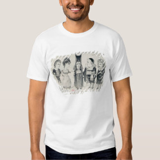 Five caricatures of the cast of a French T Shirt