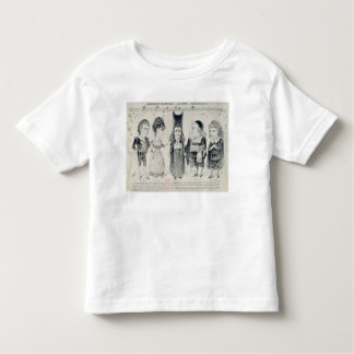 Five caricatures of the cast of a French Tee Shirt