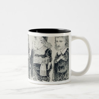 Five caricatures of the cast of a French Two-Tone Coffee Mug