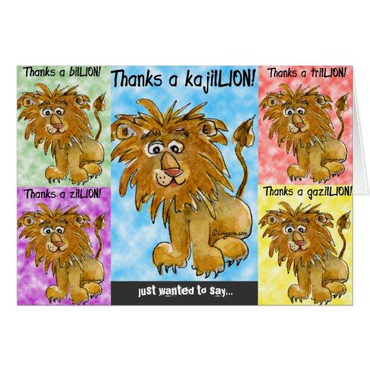 Five Cartoon Lions Thank You Card