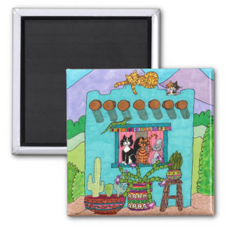 Five Cats at an Aqua Adobe House 2 Inch Square Magnet
