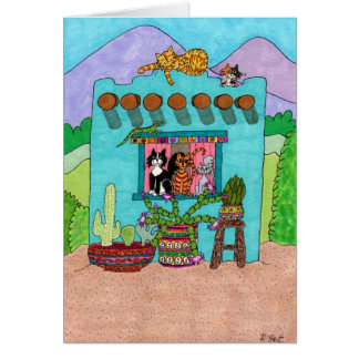 Five Cats at an Aqua Adobe House Card