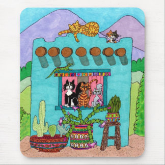 Five Cats at an Aqua Adobe House Mouse Pad