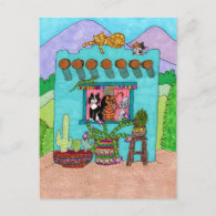 Five Cats at an Aqua Adobe House Postcards