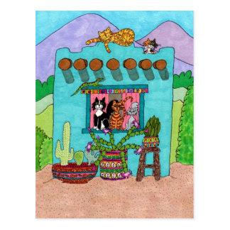 Five Cats at an Aqua Adobe House Postcard