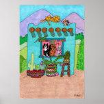 Five Cats at an Aqua Adobe House Poster