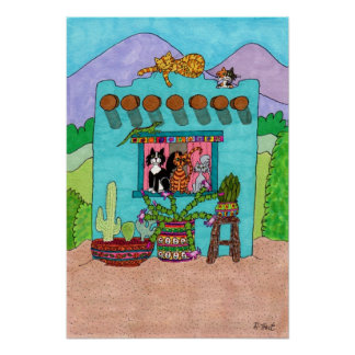 Five Cats at an Aqua Adobe House Poster
