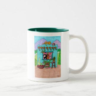 Five Cats at an Aqua Adobe House Two-Tone Coffee Mug