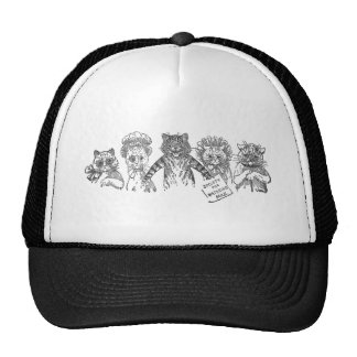 Five Cats in a Bad Mood Mesh Hat