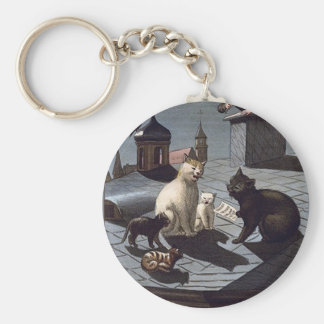 Five Cats Singing On A Roof At Night Keychain