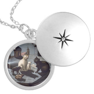 Five Cats Singing On A Roof Silver Plated Locket