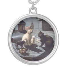 Five Cats Singing On A Roof Silver Plated Necklace at Zazzle