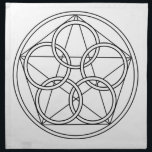 "Five Circles Star Napkin<br><div class=""desc"">The Pentagon has five sides. These sides are all the elements .. as one ..Earth,  Fire,  Water,  Air and Spirit. It is the number of the harmony and the balance. It is also the number of the divine grace.</div>"