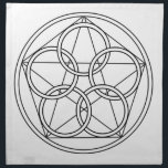 """Five Circles Star Napkin<br><div class=""""desc"""">The Pentagon has five sides. These sides are all the elements .. as one ..Earth,  Fire,  Water,  Air and Spirit. It is the number of the harmony and the balance. It is also the number of the divine grace.</div>"""