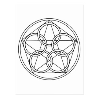 Five Circles Star Postcard